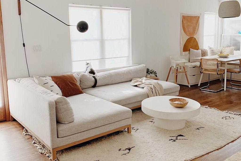 sofá cama modular de tela