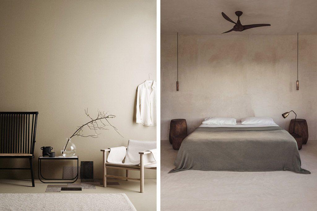 decoración color beige en las paredes