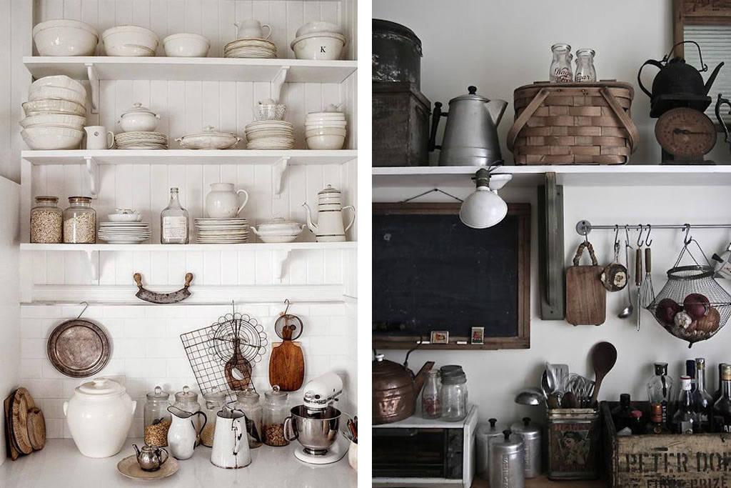 Estantes de cocina abiertos en la decoración del hogar