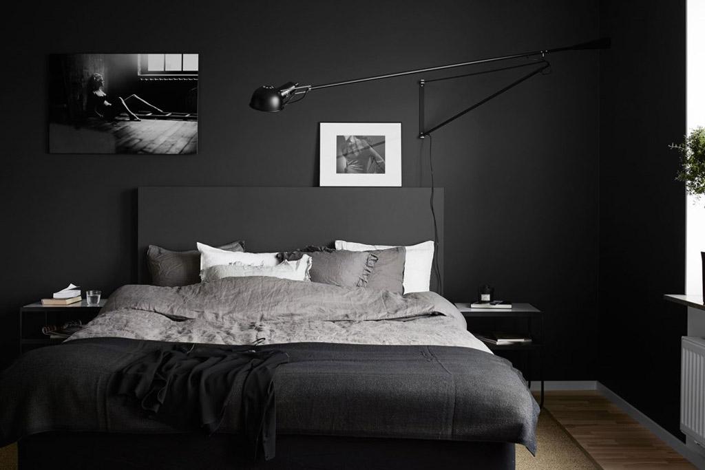 decoración con habitaciones de color negro