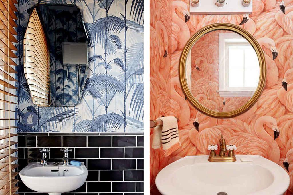 Papel pintado para baños con mucho estilo