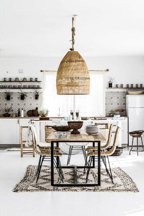 decoración con lámpas de mimbre en las cocinas de inspiración nórdica