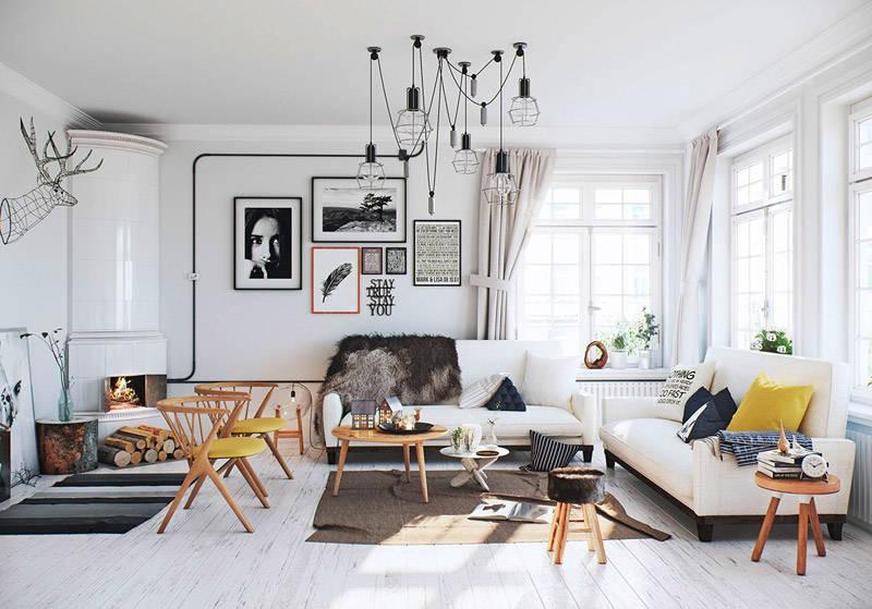 Salón decorado con estilo nórdico