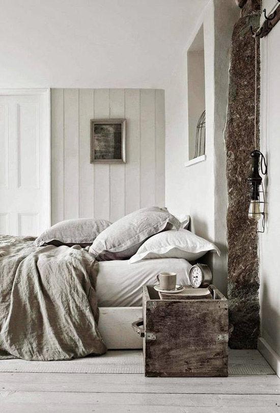 Habitación de estilo nórdico con calidos tejidos