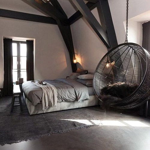 sillas colgantes en los dormitorios
