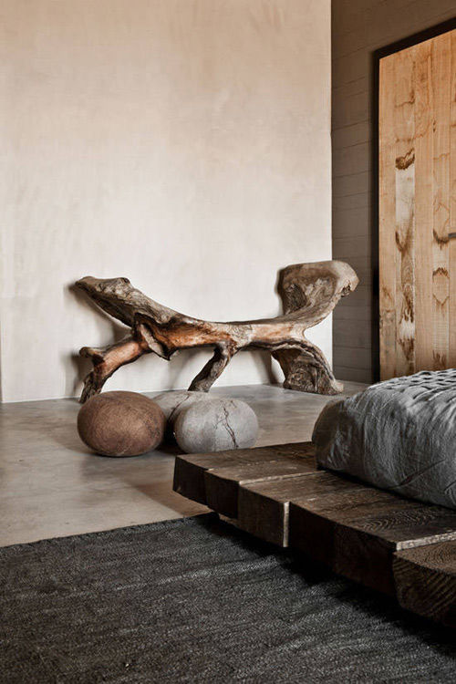 Decoración con troncos de madera
