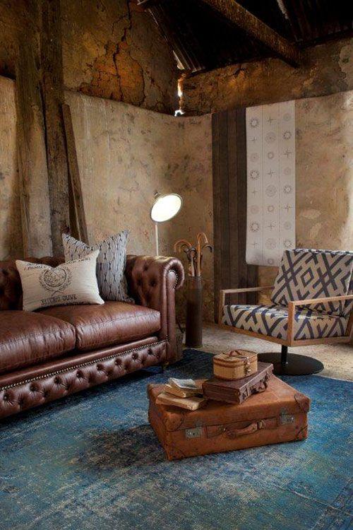 Decorar con alfombras en los interiores de inspiración industrial