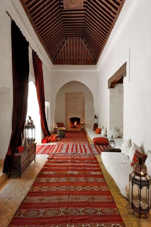 kilims en un riad de Marruecos
