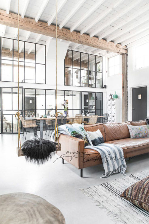 Salón de estilo nórdico industrial