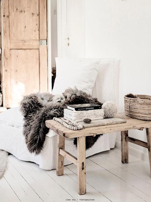cálidos textiles en el hogar escandinavo