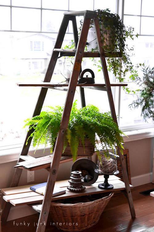 Escalera como jardinera