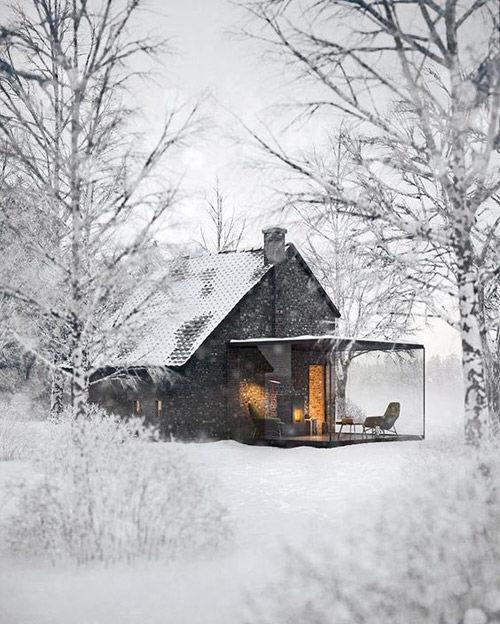 Casa nórdica de piedra y madera