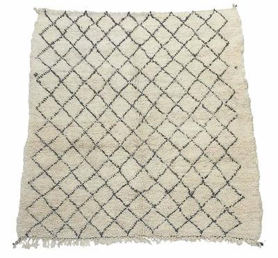 alfombra beni ouarain de lana con flecos