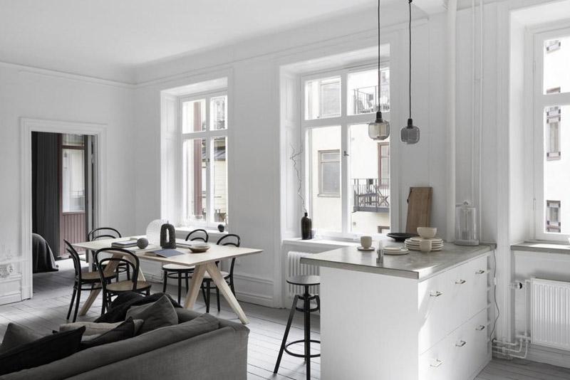 Casa nórdica con cocina comedor