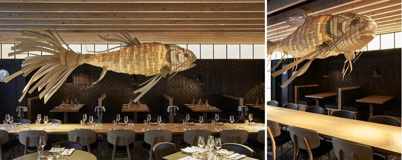 Decoración de restaurantes con lámparas de madera