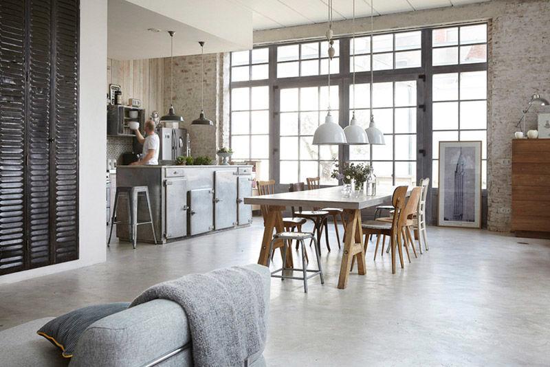 Cocina tipo loft integrada al resto de la casa