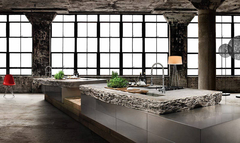 Cocina rústica moderna con piedra de lava