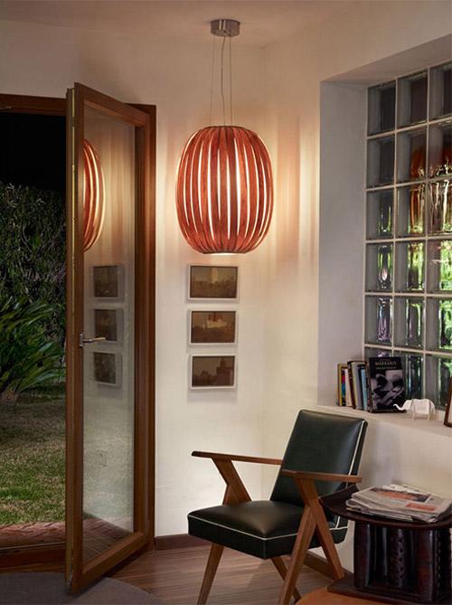 Lámparas de madera en la decoración de interiores