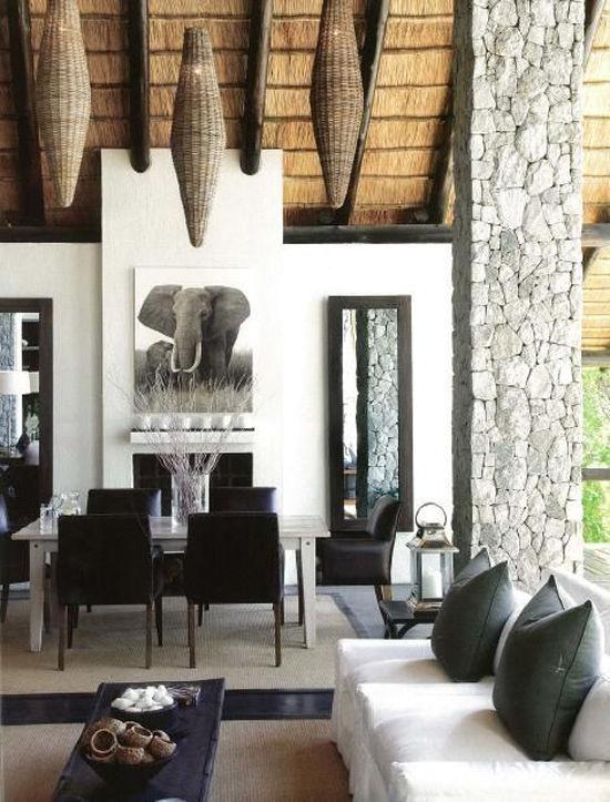 Casa con decoracion africana