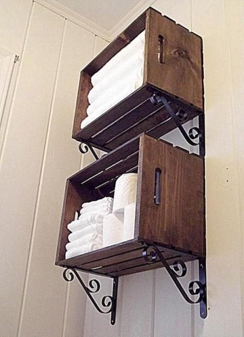 Cajas de madera para decorar el baño