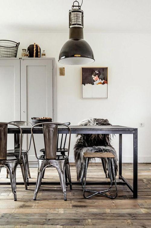 Comedor nórdico con muebles industriales