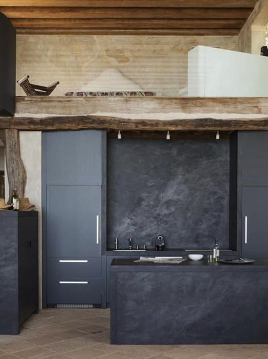 Piedra negra para una cocina