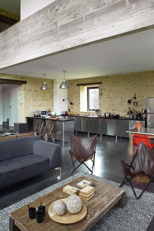 salon cocina de estilo rustico industrial