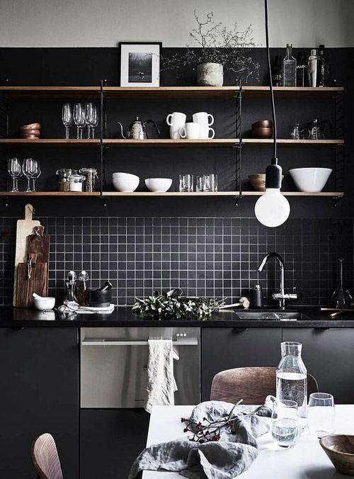 Cocinas negras sofisticadas elegantes y atrevidas for Cocina con electrodomesticos de color negro