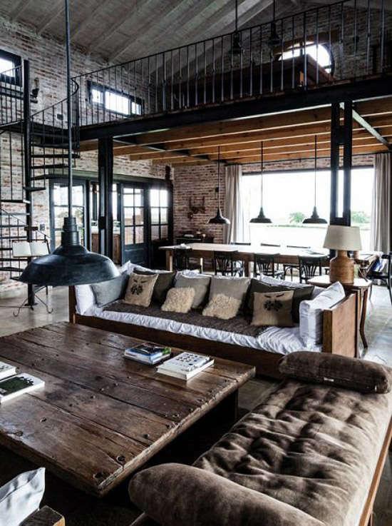 Un salón con un toque industrial