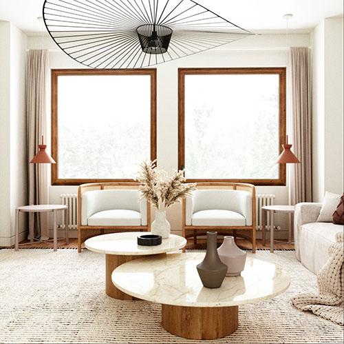mesas auxilares de mármol para decorar el salón