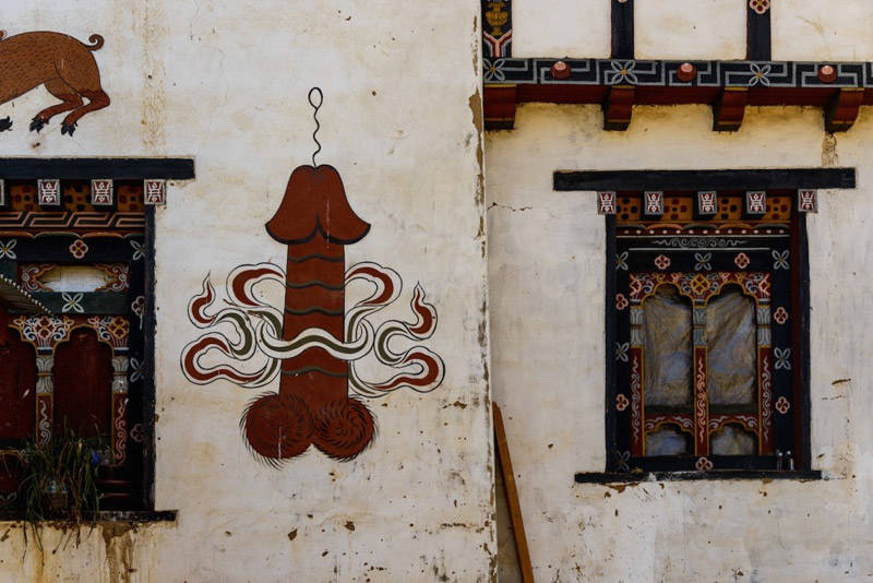 Paredes pintadas en Bhutan