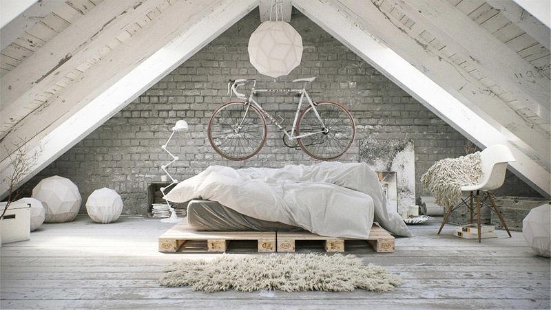 Madera y color blanco en la decoración de estilo nórdico industrial