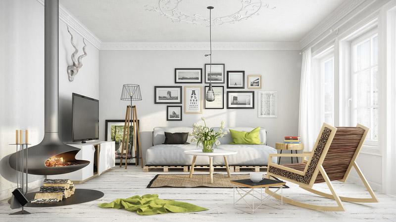 salones modernos de diseño escandinavo