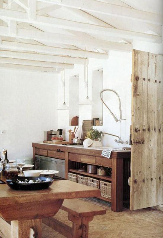 Madera para una cocina de estilo rustico