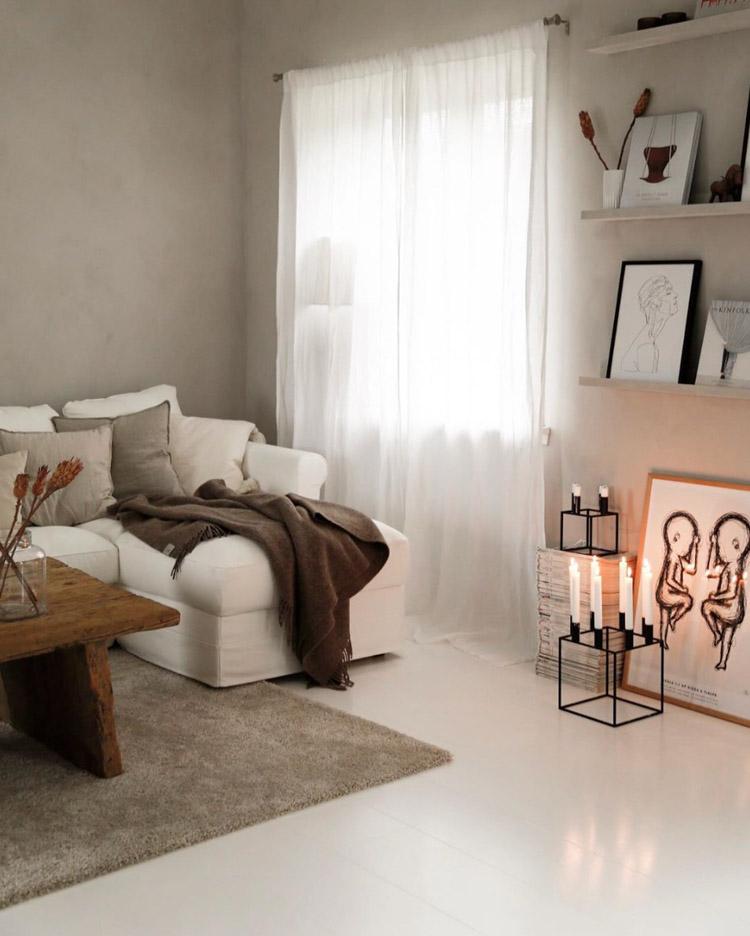 como decorar un salón con tonos beige