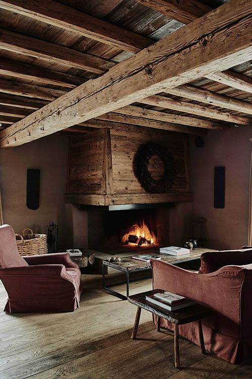 lino y madera en una cabaña de madera