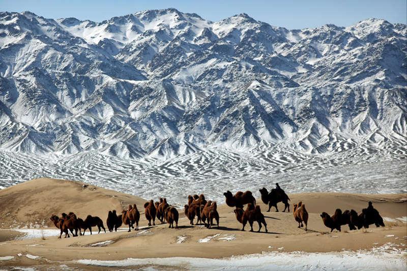 El desierto del Gobi con cumbres nevadas