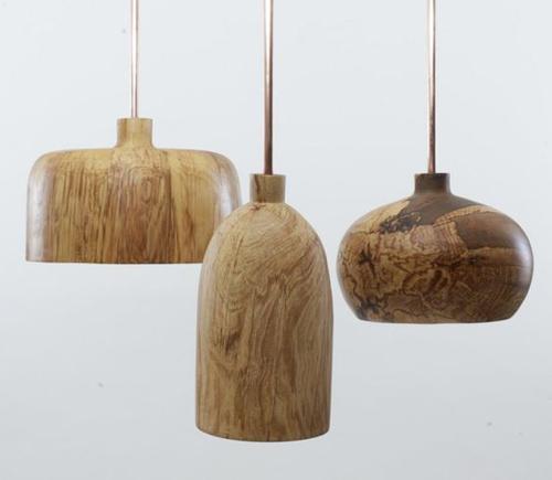 lámparas colgantes de madera