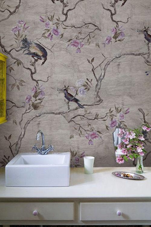 Papel pintado vintage para vestir la pared del cuarto de baño