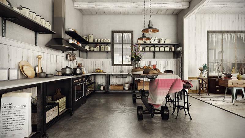 cocina negra de estilo industrial
