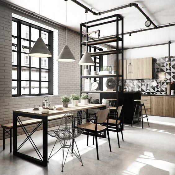 Cocina comedor con un diseño industrial