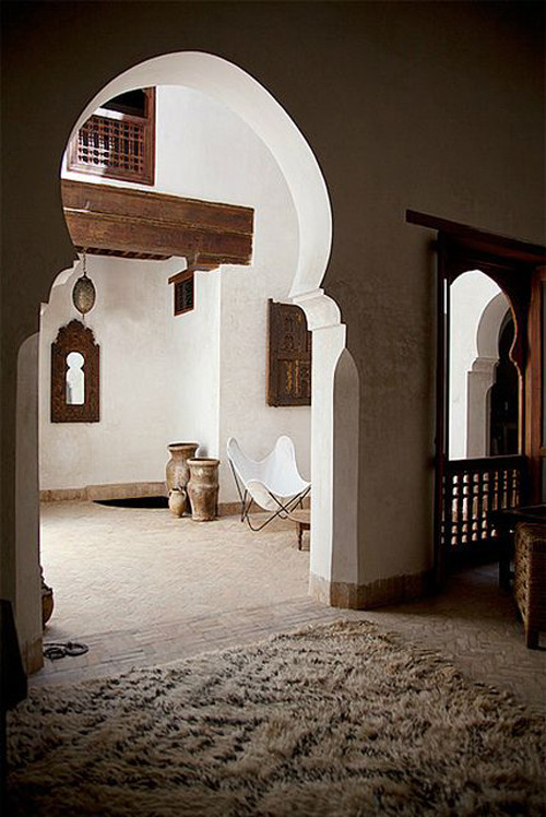 Suelo de terracota en una casa marroquí