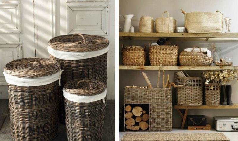 cestas de mimbre para el almacenaje