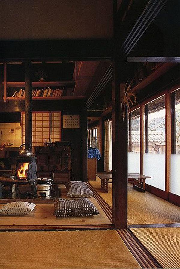 Sala de te tradicional con tatamis