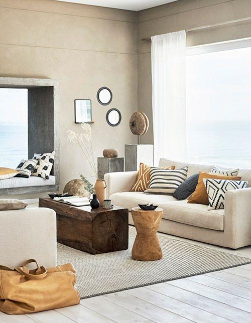 decoración el hogar con paredes de color beige