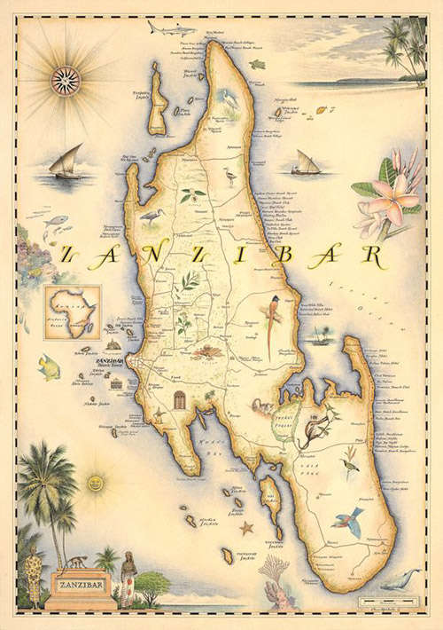 Mapa de la isla de Zanzíbar