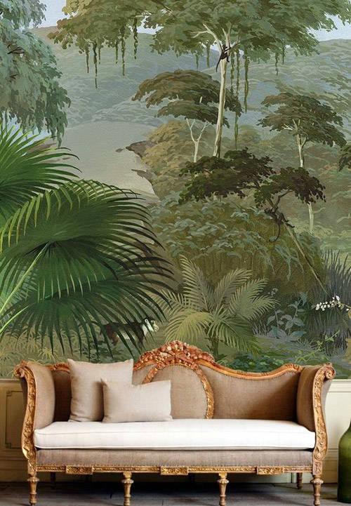 Papel pintado con motivos tropicales