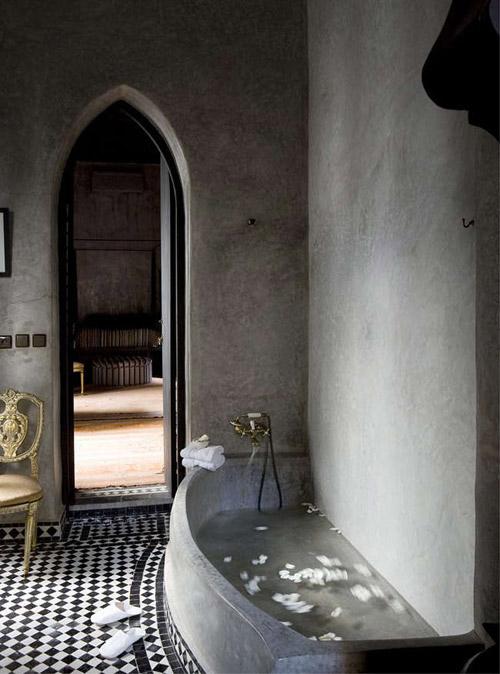 El baño de un riad en Marrakech