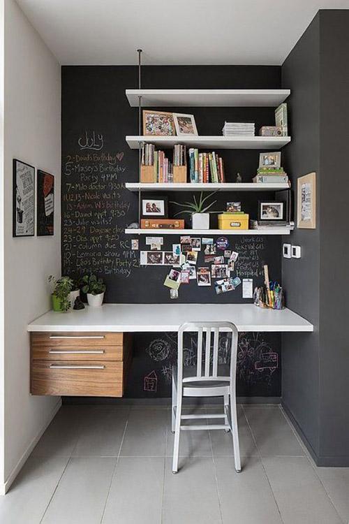 Decoración del hogar con pared de pizarra