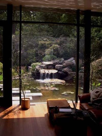El jardín en una construcción tradicional japonesa